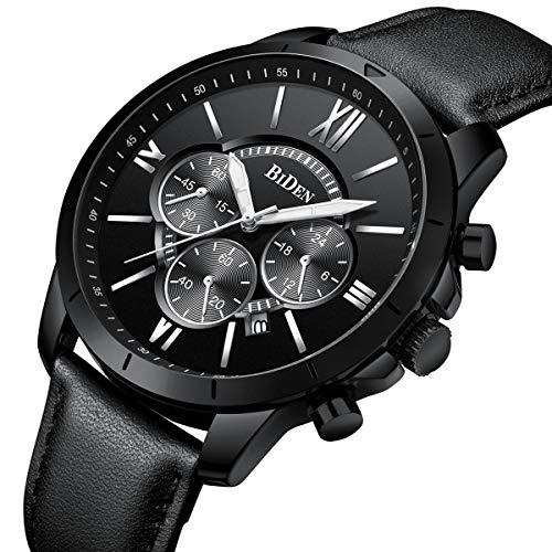 Montre, Montre Homme Affaires Mode Sport Décontractée Élégant Luxe Cuir Chronographe Calendrier Etanche Quartz (Noir)