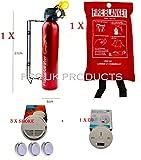 Home Safety Essentials. FSS UK Feuerlöscher, Decke, rauch Fire Alarm X 3+ CO Kohlenmonoxid Detektor, mit 9V Batterien. CE-gekennzeichnet, und ideal für Wohnungen, Mobilheime Wohnwagen Kleine Büros Läden Arbeitsplätze
