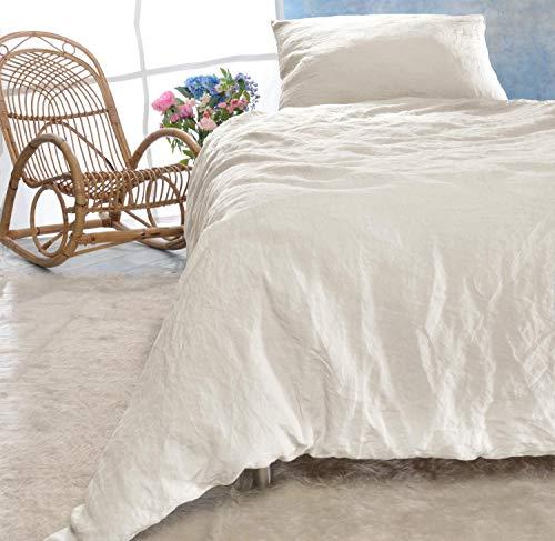 Leinen-Bettwäsche Set 135x200cm + 40x80cm Elfenbein-weiß -