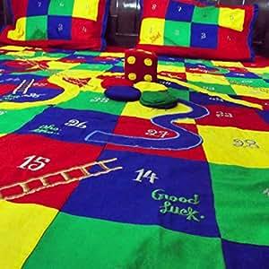 Kalaplanet Kids Snakes and Ladders Bedsheet - Mutli