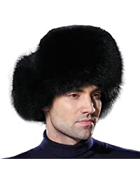 URSFUR Warme Unisex Echte Fellmütze Fuchspelz/Waschbär Fell Russland Wintermütze Trappermütze Ushanka