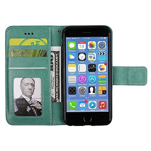 Custodia IPhone 5, ESSTORE-EU Custodia in Pelle con Slot per Schede, Stile Libro, Custodia Portafoglio per IPhone 5 con Funzione di Supporto e Chiusura Magnetica, Nero Verde
