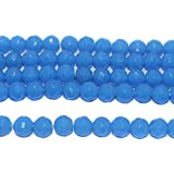 #4: Beadsnfashion Jewellery Making Faceted Glass Round Beads Sky Blue 10 mm, Pack of 1 String of 13 Inch