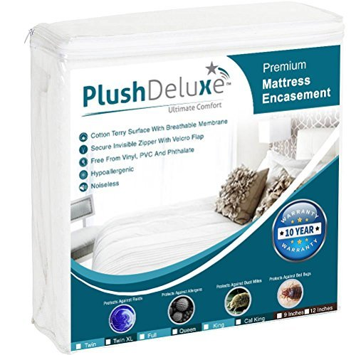 PlushDeluxe Premium 100% wasserdicht Matratze umgreifung Hypoallergen Vinyl Frei, atmungsaktive Weiche Baumwolle Frottee Oberfläche. 10Jahr Garantie, Baumwolle, 12-15 Deep, King Size (Bug Protector King-size-bett)