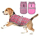 EASTLION Winter Dog Tartan Coat Vest Warm Puppy Jacket Pet Clothes Apparel with Reflective Belt Harness Hole for Small Medium Large Dogs,Pink,Size XS