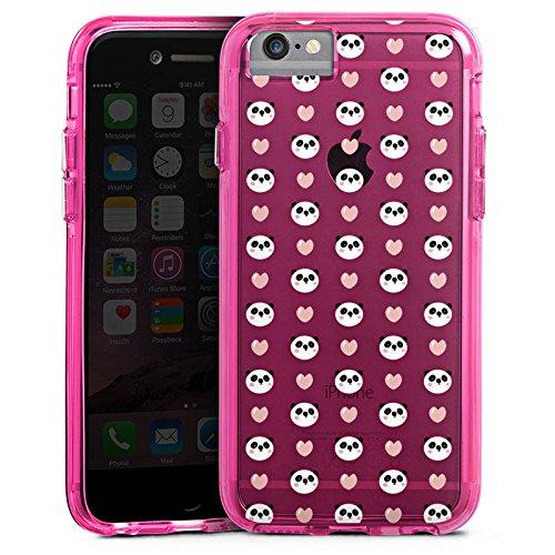 Apple iPhone 6s Plus Bumper Hülle Bumper Case Glitzer Hülle Muster ohne Hintergrund Panda Valentinstag Bumper Case transparent pink