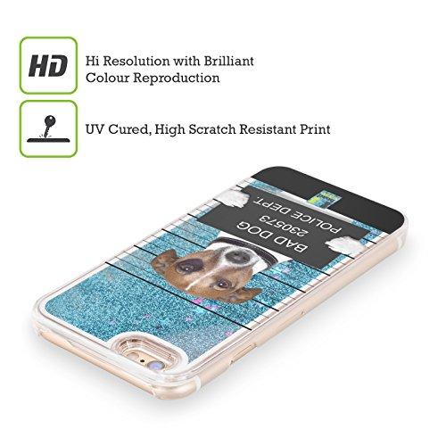 Head Case Designs Kleiner Welpe Hört Musik Komische Tiere Himmelblau Handyhülle mit flussigem Glitter für Apple iPhone 5 / 5s / SE Böser Hund Mugshot