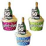 Happy 50th Birthday Champagner Flaschen – vorgeschnittenen essbare Cupcake Topper/Kuchen Dekorationen – Herren – Damen – Feiern – Party 12er-Pack