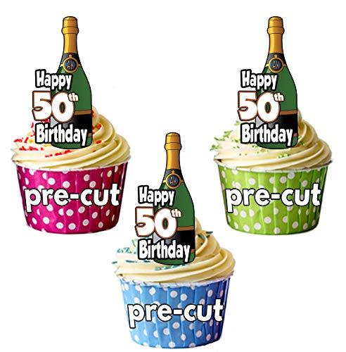 Happy 50th Birthday Champagner Flaschen–vorgeschnittenen essbare Cupcake Topper/Kuchen Dekorationen–Herren–Damen–Feiern–Party Pack of ()