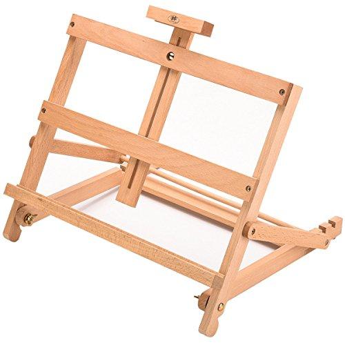 Arpan & Art Craft-Stazione di lavoro-Cavalletto da tavolo per pittura in legno, misura grande, motivo: scrivania regolabile con cavalletto da