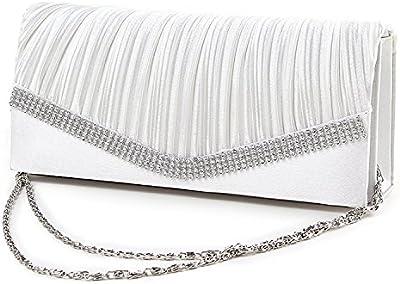 Bolso de cadena de diamantes de imitacion de senoras - TOOGOO(R) Bolso de mujeres Bolsa de novia Bolso de cadena de joyeria de senoras fiesta de tarde (Blanco)