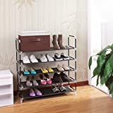 from Songmics Songmics 5 Tier Shoe Rack Standing Storage Organizer for 25 pairs of shoes Black 88 x 28 x 91 cm LSR05H Model LSR05H
