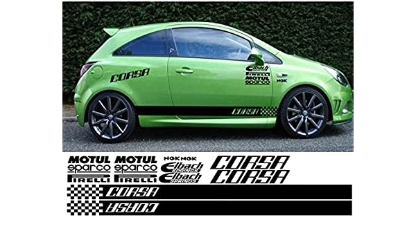 Corsa kit x14pc graphics stickers decals black amazon co uk car motorbike