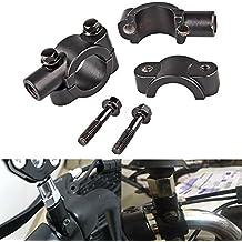 katur negro 10mm Par moto motocicleta Autocycle Autobike Moto Bicicleta Manillar Espejo retrovisor Soporte para adaptador de abrazadera