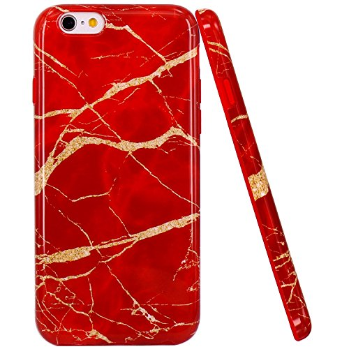 iPhone 6 Hülle, iPhone 6S Hülle, JIAXIUFEN Red Gold Marmor Design Soft TPU Silikon Schutz Handy Hülle Handytasche HandyHülle Case Cover Tasche Schutzhülle für Apple iphone 6 6S