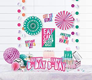 Amscan International- Adornos, Color room decorations kit young and fab (242403)
