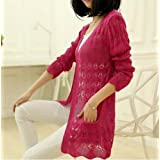 New Akira Casual Long Sleeve Long Cardigan Hollow Knit Knitwear Sweater Coat (RoseRed)