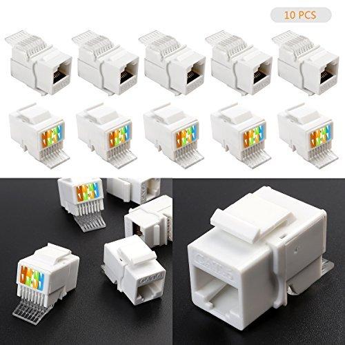 LeaningTech 10 Pcs Keystone Jack RJ45 Ethernet Module Cat6 Network Coupler Punch Down Adapter, with Standard Keystone Port -