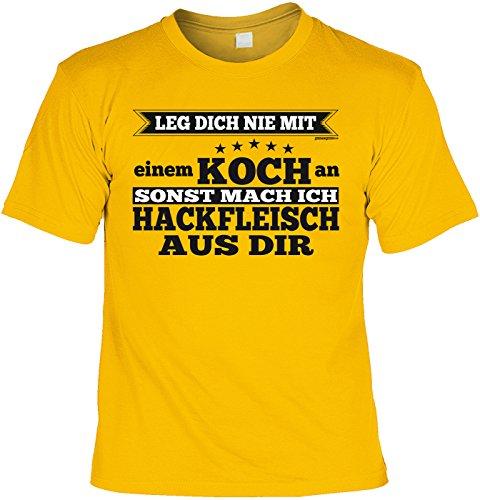 Fun Shirt mit coolem Koch-Motiv: Leg dich nie mit einem Koch an, sonst mach ich Hackfleisch.. - Geburtstag - Farbe: gelb Gelb