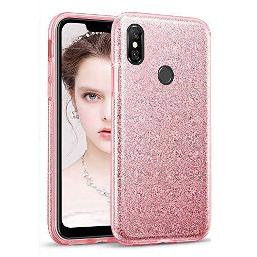 "Coovertify Funda Purpurina Brillante Rosa Xiaomi Redmi Note 6 Pro, Carcasa Resistente de Gel Silicona con Brillo Rosa para Xiaomi Redmi Note 6 Pro (6,26"")"