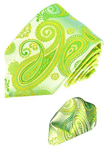 LORENZO CANA - Set aus 100% Seide : Grüne Paisley Krawatte mit Einstecktuch - Schlips Binder mit...