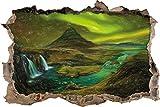 cascade Kirkjufell avec Northern Lights effet de crayon Art percée de mur en 3D look, mur ou format vignette de la porte: 92x62cm, stickers muraux, sticker mural, décoration murale
