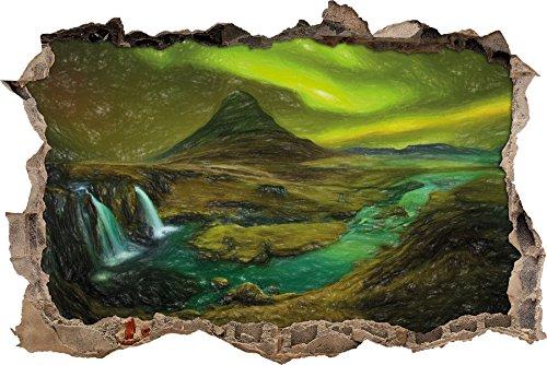 Kirkjufell Wasserfall mit Nordlichtern Kunst Buntstift Effekt Wanddurchbruch im 3D-Look, Wand- oder...