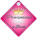 Principessina Aurora (001) adesivo bimbo / bambina / neonato a bordo per femmina adesivo macchina, bimbi, bambini, famiglia