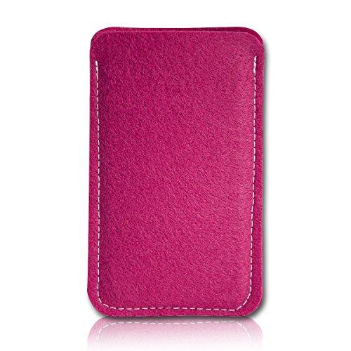 Filz Style Apple Iphone 7 Premium Filz Handy Tasche Hülle Etui passgenau für Apple Iphone 7 - Farbe schwarz pink
