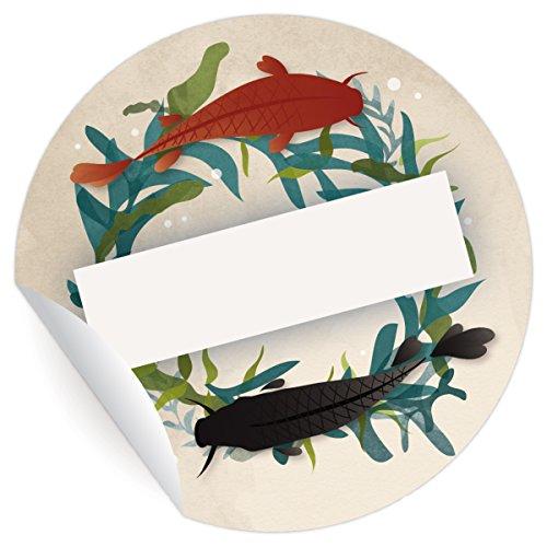 24 elegante Koi Aufkleber | Sticker zum Beschriften, MATTE universal Papieraufkleber für Geschenke, Etiketten für Tischdeko, Pakete, Briefe und mehr (ø 45mm (Glücklich Koi)