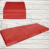 Fortisline Matelas d'appoint Pliant lit d'appoint lit d'invité futon Pouf 195x80x9 cm Couleur Rouge