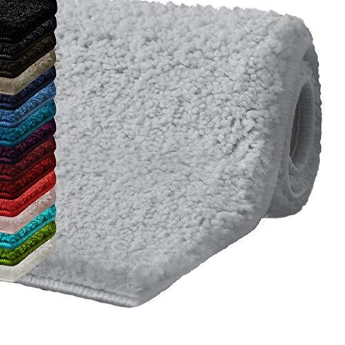 Badematte Hochflor Sky Soft | Weicher, Flauschiger Badezimmerteppich in Shaggy-Optik | Badvorleger rutschfest waschbar | schadstoffgeprüft | 16 Farben in 6 Größen (60x50 cm, Silbergrau)
