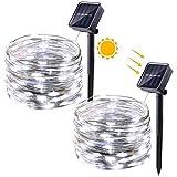 Qedertek Solar Kupferdraht Lichterkette, 2 Stück 12M 100 LED Weihnachten Lichterkette, 8 Modi Wasserdicht Solarlichterkette, Weihnachtsbeleuchtung außen für Garten, Party, Hochzeit (Weiß)