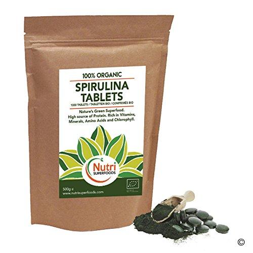 Bio Spirulina-Tabletten 1000 x 500mg - Reich an Aminosäuren, Veganes Protein, Chlorophyll und Calcium (500g)