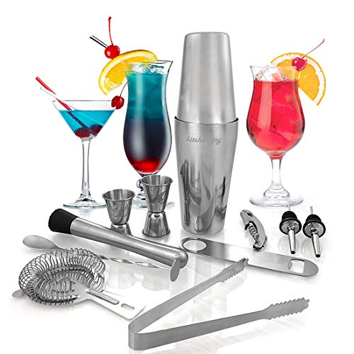 Cocktail Making Set by Kitchen Joy - with Cocktail Shaker - a Professional Stainless Steel Bartender and Mixology Kit with Boston Shaker Tin, Muddler, Jiggers, Mixing Spoon and Accessories (12 piece) -