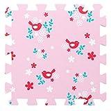 Tapis de jeu en mousse souple pour les enfants et bébés - 9 tapis roses assemblables avec des oiseaux