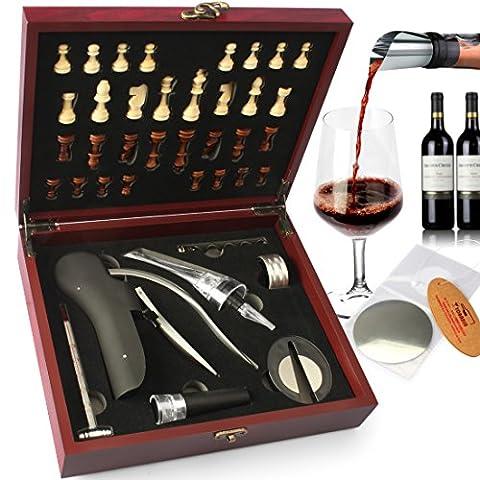 yobansa Holz Box 8Stück Wein Zubehör Geschenk Set mit Schach, Kaninchen Korkenzieher Set, Wein Öffner Luftsprudler Stopper Set Goose Chess Box (3 Lb Paket)