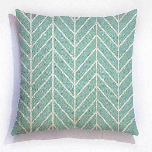 Mint grünes Fischgrätenmuster Chevron Kissenbezug dekorativer Überwurf-Kissenbezug Leinen Kissen Fall Sofa Decor 45,7cm (Mint-sofa-kissen)