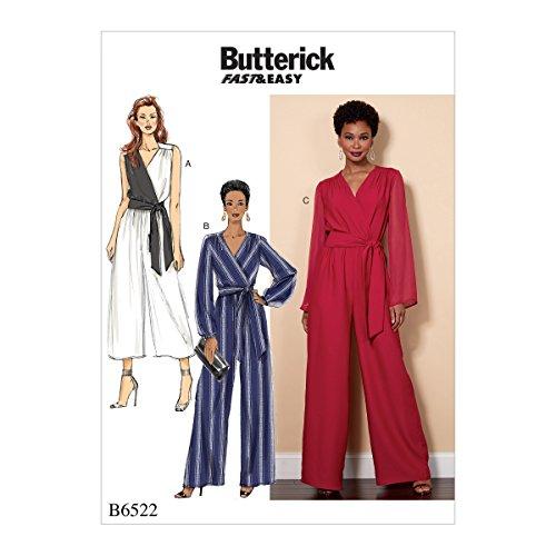 Butterick Patterns 6522B5Misses/Damen Jumpsuit und Band Schnittmuster, Tissue, Mehrfarbig, 17x 0,5x 22cm - Kontrast-joch
