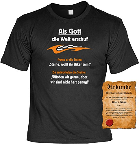 Witziges Spaß-Shirt + gratis Fun-Urkunde: Als Gott die Welt erschuf... Schwarz