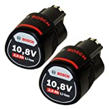 Bosch Lot de 2 batteries de rechange Li-ion 10,8V 2Ah compatible avec les modèles GSR GDR GOP GWI GSA GLI GSB GWB