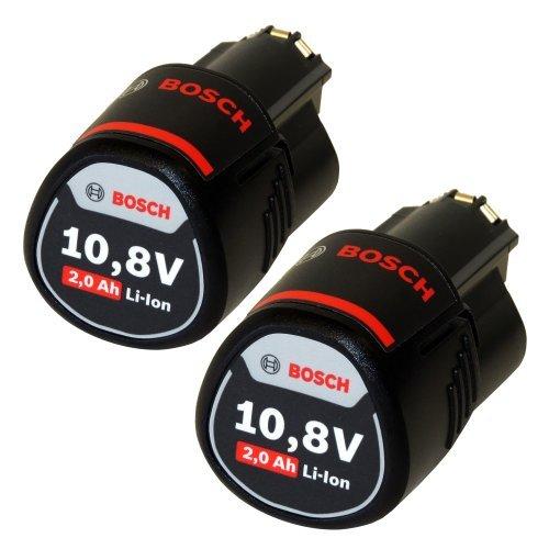 Bosch Lot de 2 batteries de rechange Li-ion 10,8 V 2 Ah compatible avec les modèles GSR GDR GOP GWI GSA GLI GSB GWB