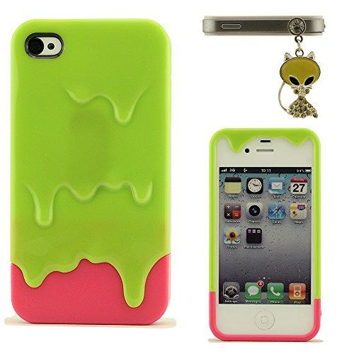 Silicone Coque Case Bumper pour iPhone 4S, Ice Cream Apparence Design, étui pour iPhone 4, Souple Back Cover + Assez Animal Apparence Pendentif, iPhone 4 4S Case Vert