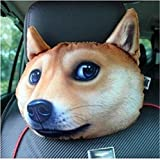 Lustige 3D Hund Katze Gesicht Auto Kissen Kopf Hals Reise Sitzkissen, Auto Kopfstütze Kissen Sofa Stuhl Rücken Unterstützung Reise Büro Kissen mit Aktivkohle