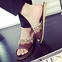 fankou Continental Antique Indoor Slippers Summer Home Couples Bedroom Cool Slippers Soft Anti-Slip Base,41-42, Brown Men and Women.