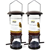 SIMPA® (Pack of 2) 2 x Classic Hanging Wild Bird Feeder Seed Feeder - With Hanger, 22cm Tall (Anti-Spill)