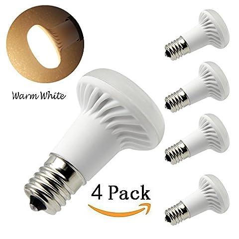 BQHY 3W Mittelschneider Sockel E17R39LED Reflektor Leuchtmittel 120V Warm Weiß 3000K R39Flood Lampe 25W Glühbirnen ersetzt (4Stück)