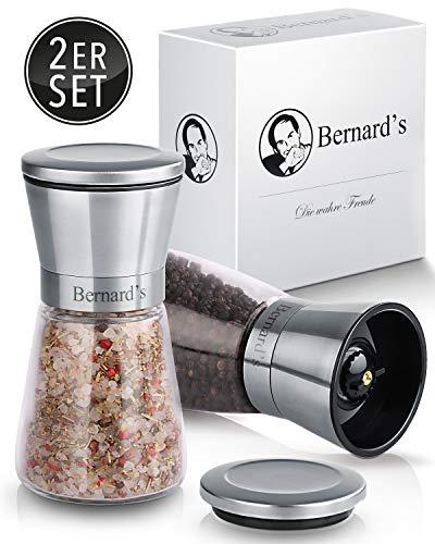 Bernard's® Salz und Pfeffer Mühle (2er Set) mit verstellbarem Keramikmahlwerk I Stilvolle Gewürzmühle & Chilimühle inkl. Gourmet-Kochbuch