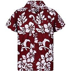 Funky Camisa Hawaiana, Hibiscus, maroon, 5XL
