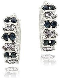 Boucles d'oreilles en argent sterling, saphir et accents de diamant en forme de cercle